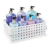 InterDesign Basic Cesta organizadora, canasto Organizador de baño de tamaño Mediano en plástico para artículos de Ducha y cosmética, Blanco