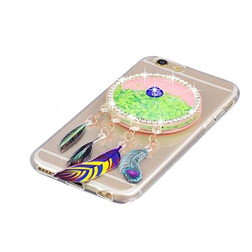 Coque iPhone 6 , Etui Housse iPhone 6S Liquide Sables Mouvants Bling Glitter Paillettes Enveloppe Coque Flexible Gel Silicone Transparente TPU pour Apple iPhone 6 / iPhone 6S (4.7 pouces) Case Cover E Vert