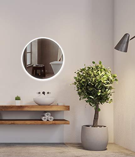 Sogoo 21W Circular 60cm ∅ espejo redondo pared cuarto de baño con iluminación LED y función antivaho...