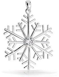 Bling joyería moderna copo de nieve Colgante Plata Esterlina CZ