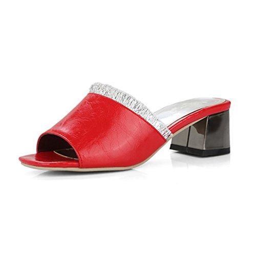 Womens Fashion Block Heel Slide Sandalen Peep Toe Plattform Mitte Ferse Glitter Lace Wedges ()