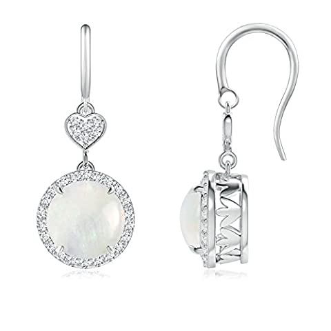 Round Drop Cabochon Opal Halo Earrings With Diamond Heart Motifs in 14K White Gold