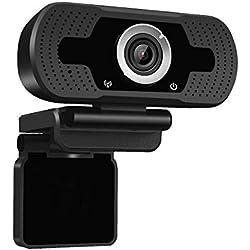 Dericam 720P HD Webcam Live Streaming, Webcam USB pour Ordinateur de Bureau et Portable, Mini caméra vidéo Call and Play Plug-and-Play, Micro intégré, Clip Rotatif Flexible, W1, Noir