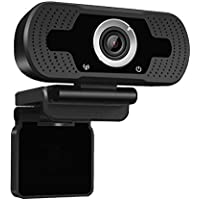 Dericam 1080P Full HD Live Streaming Webcam, USB Desktop and Laptop Webcam, Mini Plug and Play Video Calling Computer Camera, Built-in Mic, Flexible Rotatable Clip, W2, UK, Black