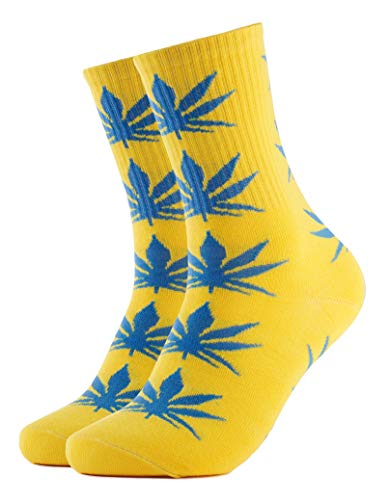 Calcetines amarillos, diseño de marihuana