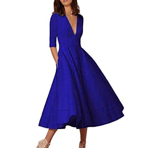 Kleider YunYoud Damen Einfarbig Partykleid Tiefer V-Ausschnitt Tanzkleid Halbe Ärmel Strandkleid Herbst Abendkleid Mode Cocktailkleid Beiläufig Festkleid (Blau, - Brautkleider ärmeln