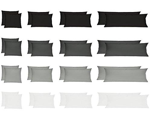 Renforcé Kissenbezug, Kissenbezüge, Kissenhüllen für Seitenschläferkissen im Doppelpack 100% Baumwolle 40x145 cm Weiss