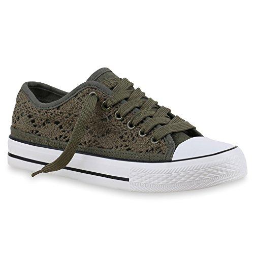 Damen Sneakers Spitze   Sneaker Stoffschuhe   Sportschuhe Basic   Freizeit Schuhe Dunkelgrün