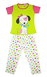 MYFAA Girls Top and Pyjama Set (GNS2P-034, 3-4 Years, Multi-Coloured)