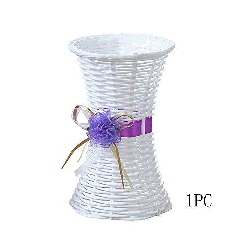 conjugal Bliss 1Ikebana Blumentopf mit klein Taille Kunststoff Blumentopf Rosen Lavendel Nelken Blumentopf verziert mit Porzellan Vasen (nicht enthalten Bouquet) (T-shirt Tea Top Garden)