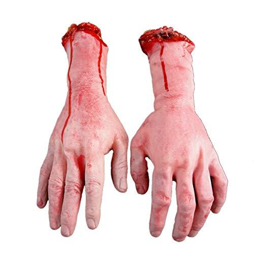 1 Stück Menschliche Arme Hände blutige tote Körperteile Spukhaus, Halloween-Dekoration, von Hand abgetrennt, gory und Gummi links