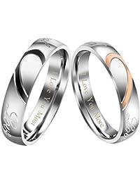 Zysta Bague Couple Rings Amoureux Anneaux Real Love Gravé Demi Coeur Puzzle Éternel Romantique Acier Inoxydable Cadeau pour Saint-Valentin Mariage Alliance