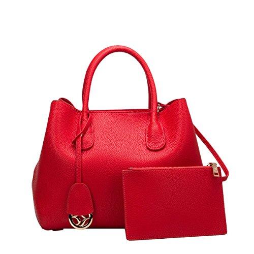 Leder Plaid Handtaschen Damen Damen Schultertasche Tasche,Red-OneSize -