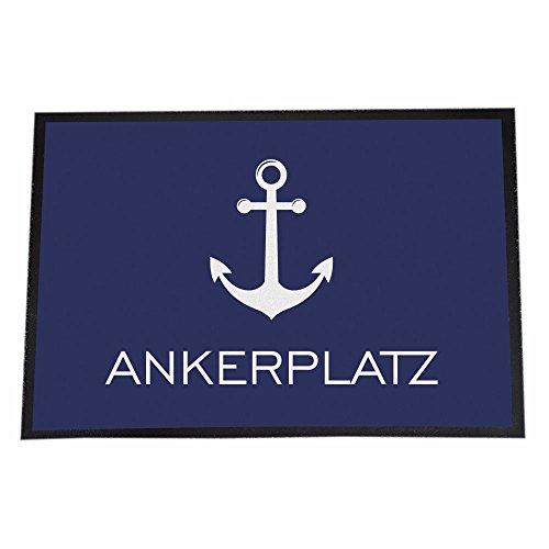 4you Design Fußmatte Ankerplatz, 40 x 60 cm, Anker, Geschenkidee zur Bootstaufe, Maritimes wohnen, Wohnidee, Boot, Hafen, Motorboot, Souvenirartikel
