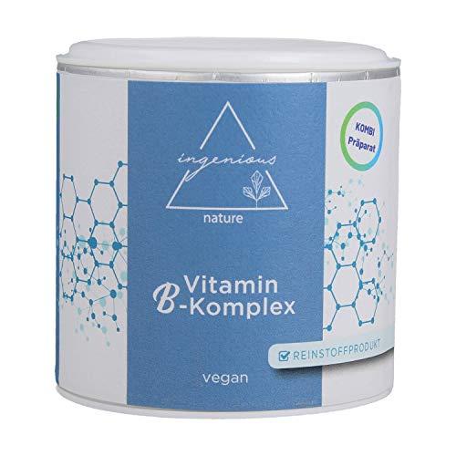 ingenious nature® Vitamin B-Komplex - ZUM EINFÜHRUNGSPREIS - Reinstoffprodukt - Kombipräparat mit allen 8 B-Vitaminen - 4 Monatsvorrat. -