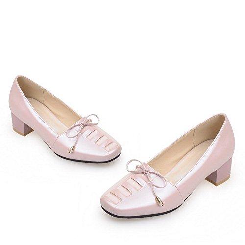 AgooLar Damen Ziehen Auf Niedriger Absatz Pu Leder Rein Quadratisch Zehe Pumps Schuhe Pink