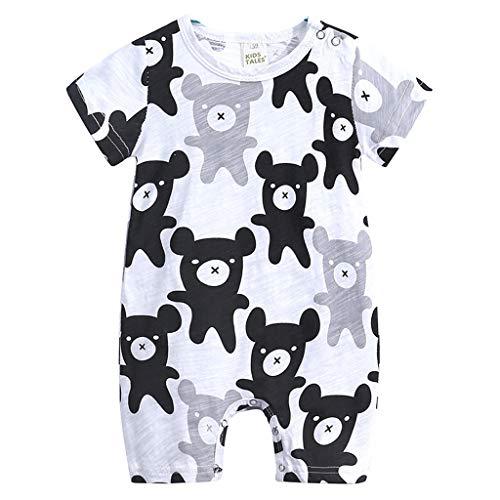 L'été Toddler Enfants Garçons Bébé Mignon De Bande Dessinée Romper Jumpsuit Outfit Vêtements Onesies Impression de Girafe de Dessin animé Combinaison(3-6 Mois,Noir)