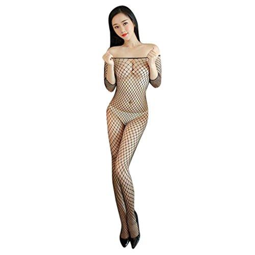 Sexy Dessous, Beikoard Sexy Lingerie large Mesh lange Ärmel aus der Schulter schwarz Body Fischnetz Nacht (L) (Bodystocking Schulter)