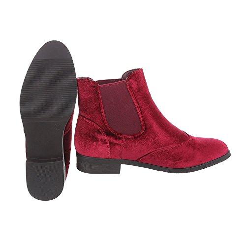 Ital-Design Chelsea Boots Damenschuhe Chelsea Boots Blockabsatz Blockabsatz Stiefeletten Weinrot T115