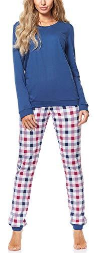 Cornette Pijama Conjunto Camiseta y Pantalones Mujer 671 2018 (Azul Oscuro-06, S)