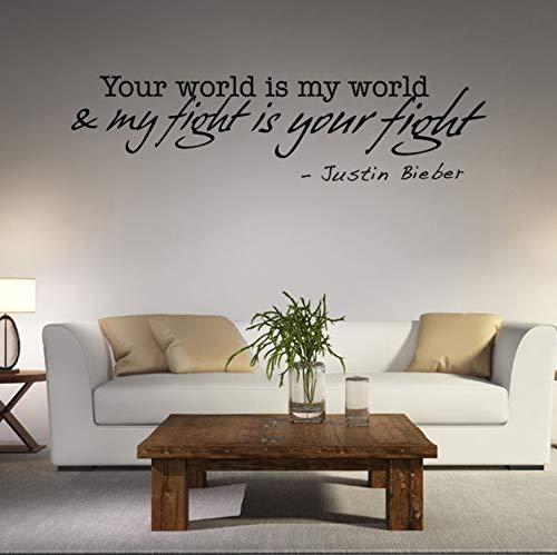 Zxfcczxf Ihre Welt Ist Meine Welt Mein Kampf Ist Ihr Kampf Justin Bieber Wandaufkleber ZitatWörter Poster Home Decor Wall Art