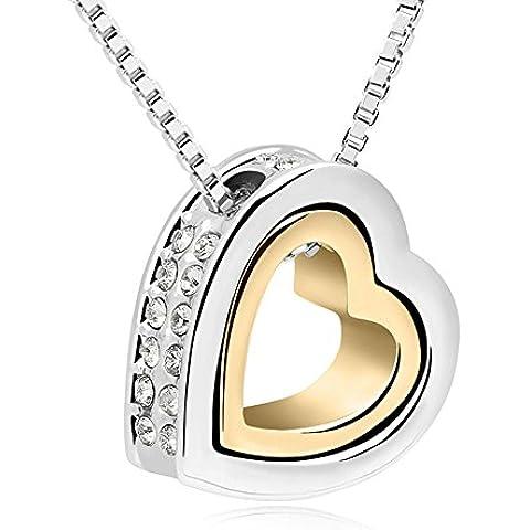 Ufingo Jewelry Amor Eterno doble del collar del corazón, oro 18K plateado, hecho con los elementos de Cristal Austriaco, longitud de cadena de 40 cm + 5 cm de la cadena extendida