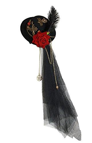 Gothic Kopfschmuck Steampunk Mini Hut mit Schleier roter Rose Kreuz Spinne WGT