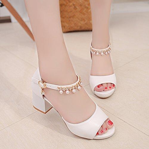 Lgk & fa estate sandali all-match da donna estate sandali fibbia di spessore con un diamante con pesce bocca scarpe White