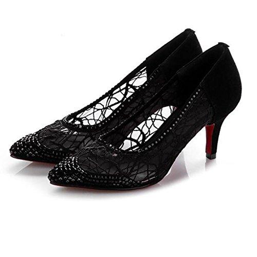 W&LM Cuir véritable Chaussures Pointu Très bien avec Talons hauts Fil net Respirant Bouche superficielle Basse chaussure Black
