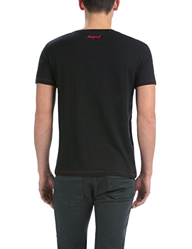 Desigual Herren T-Shirt, bedruckt Schwarz - Schwarz (Negro)