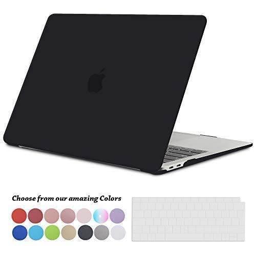 TECOOL Hülle für 2018 MacBook Air 13 Zoll Retina, Plastik Hartschale Matt Schutzhülle Case und Transparent Tastaturschutz für Neuen Apple MacBook Air 13,3 Zoll Touch ID (Modell:A1932)-Schwarz Clip Hard Case Cover