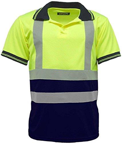 Polo-Shirts für Herren, zweifarbig, gute Sichtbarkeit, kurze Ärmel, Arbeits-Shirt Gr. XXX-Large, Gelb / marineblau (Trim Kontrast Polo)