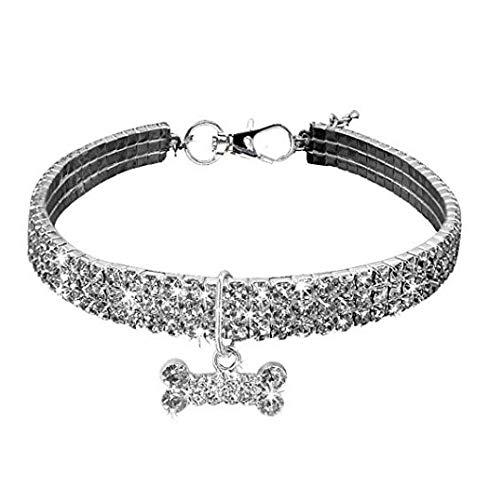 SGJIN Home Haustier Kragen, Bling Bling Crystal elastischen Kragen Phantasie Strass Diamant Katze Kragen Halskette for Katzen Kleiner Hund (Medium-25 * 5cm, weiß) (Size : L) -