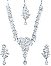 Sukkhi Enchanting Rhodium Plated Australian Diamond Stone Studded Necklace Set For Women