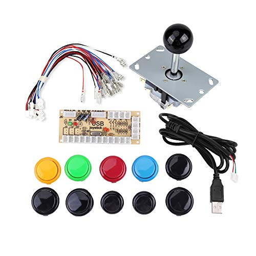 Preisvergleich Produktbild 1-Spieler-Arcade-Tasten und Joystick DIY-Controller-Kit für Windows und Raspberry Pi,  5-polige Joysticks mit 10 Tasten