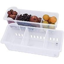 2 Pack Refrigerador contenedor Congelador despensa refrescos cocina almacenamiento Heladera Organizadora para Guardar Vegetales Frutas,