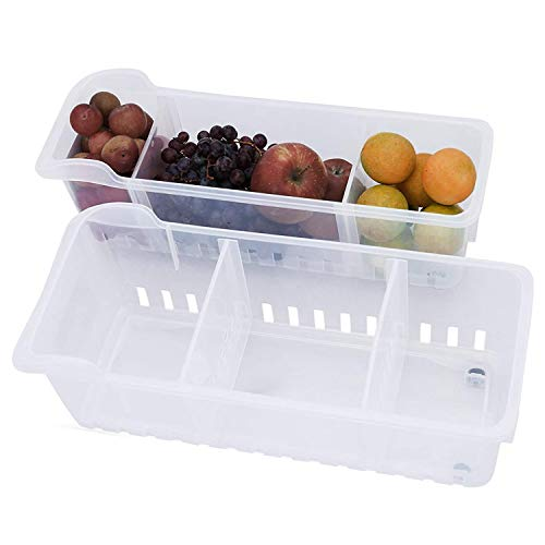 2 Pack Refrigerador contenedor Congelador despensa refrescos cocina almacenamiento Heladera Organizadora para...