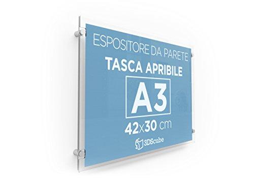 Espositore in plexiglass da parete, targa a tasca apribile in plexiglass, porta avvisi e depliant formato a3 orizzontale 42×30 cm, completa di distanziali in alluminio