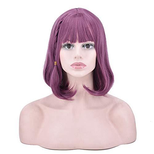 e Blume BoBo Kopf Perücke Kopfbedeckung, Synthetische Damen Braid Kurzes Lockiges Haar Cosplay Party Perücke Für Täglich 16 inch Zolimx ()