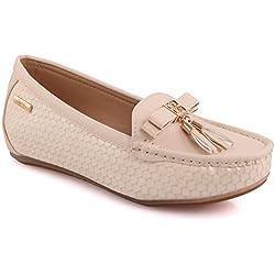 Unze Damen Damen Dezi 'Tassel Detail Komfortable flache Schuhe Slipper Moccasins Pumps Schuhe Größe 3-8 - MT81732B
