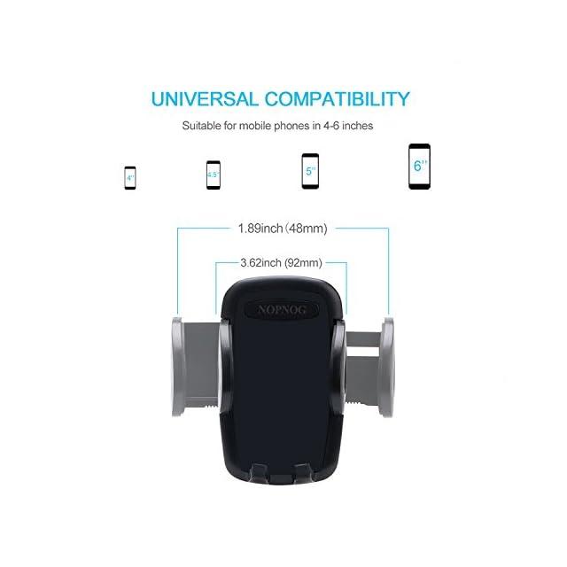 NOPNOG voiture téléphone support de montage, pare-brise téléphone cellulaire Universal Cradle Mount de déclenchement rapide pour iPhone X/8/7/6 Plus Samsung Galaxy S7/S6 Google pixel XL/Nexus