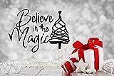 jiushivr Credi nel Diavolo Citazioni Adesivi murali Albero di Natale Vinile Rimovibili Decalcomanie Decorazioni per la casa Soggiorno Camera da Letto murales d'Arte 56x42cm