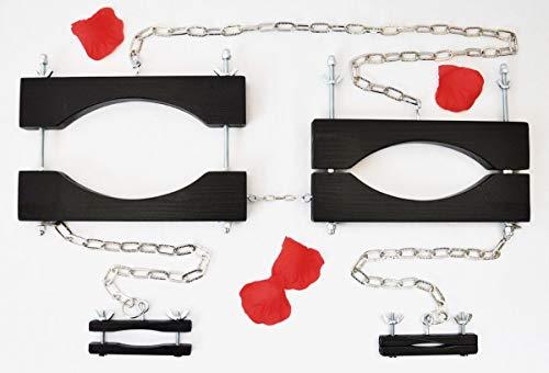 Bondage Holz Brust Pranger + 2x Nippelklemme + Kette SM Busen Klammer BDSM Presse, Farbe:Schwarz