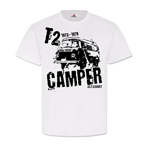 T2 Camper_Bus Bulli Volks-Transporter Wohnwagen Oldtimer Urlaub Retro 70er Jahre T2b Luftgekühlt Hippi Kult #21603, Größe:XL, Farbe:Weiß (Retro Jahre 70er T-shirts)