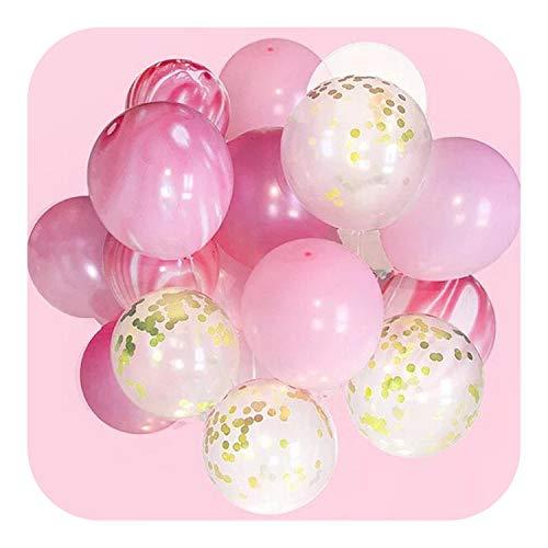 Baby Shower Geburtstag Bollons | 20pcs Gold-Schwarz-Rosa-Partei-Dekoration Marble Konfetti Balloons Air-Agent für Hochzeit-Geburtstags-Party Fotografie Props Kulisse, Rosa