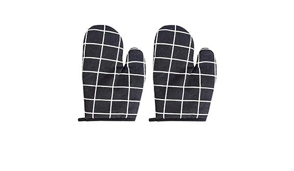SALAKA 2pcs Noir Plaid r/ésistant /à la Chaleur Mitaines de Four de Cuisson Anti-Glissement Four Gant de Cuisine Micro-Ondes Four