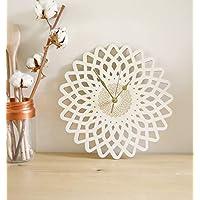 Horloge murale en bois, pendule géométrique, décoration fleur, rosace, design d'inspiration orientale