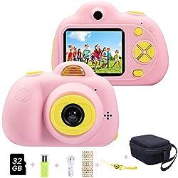 ToyZoom Caméra numérique pour Enfants 1080P HD Selfie Appareil Photo 8 Mpx avec Zoom 4 x, LCD de 2 Pouces, Double Objectif caméra Cadeau d'anniversaire pour Enfants (Rose)