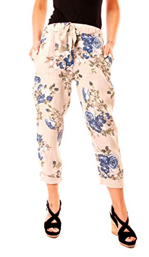 Easy Young Fashion Damen Leinenhose mit Blumen Print-Muster One Size Beige