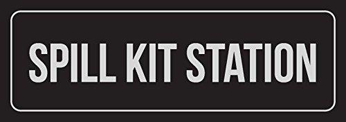 Spill-station Kit (76DinahJordan schwarz & Silber Spill Kit Station Schild Indoor Outdoor Metall Schilder Blechschild Warnschild Türschild für Zuhause für Büro 10 x 45 cm)